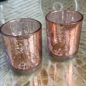Bronze & Geometric Print Glass Candle Hold…